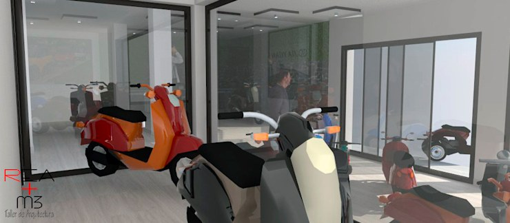 Agencia de autos eléctricos: Concesionarias de automóviles de estilo  por REA + m3 Taller de Arquitectura