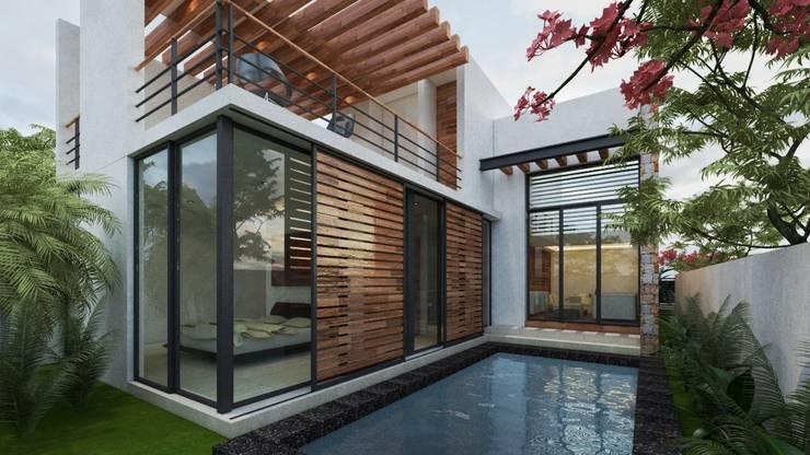 Piscinas de estilo  por Art.chitecture, Taller de Arquitectura e Interiorismo 📍 Cancún, México.