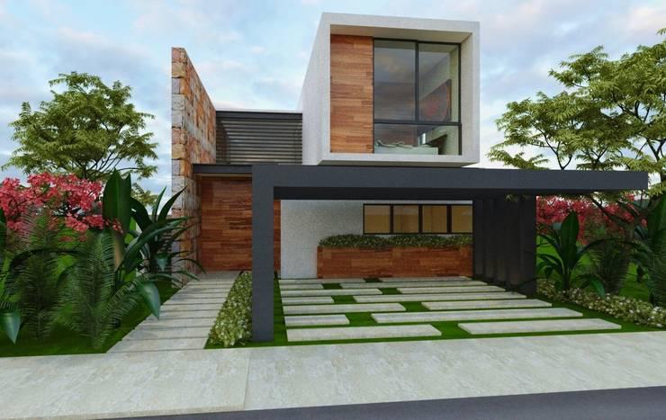 SENDEROS MAYAKOBA : Casas de estilo  por Art.chitecture, Taller de Arquitectura e Interiorismo 📍 Cancún, México.