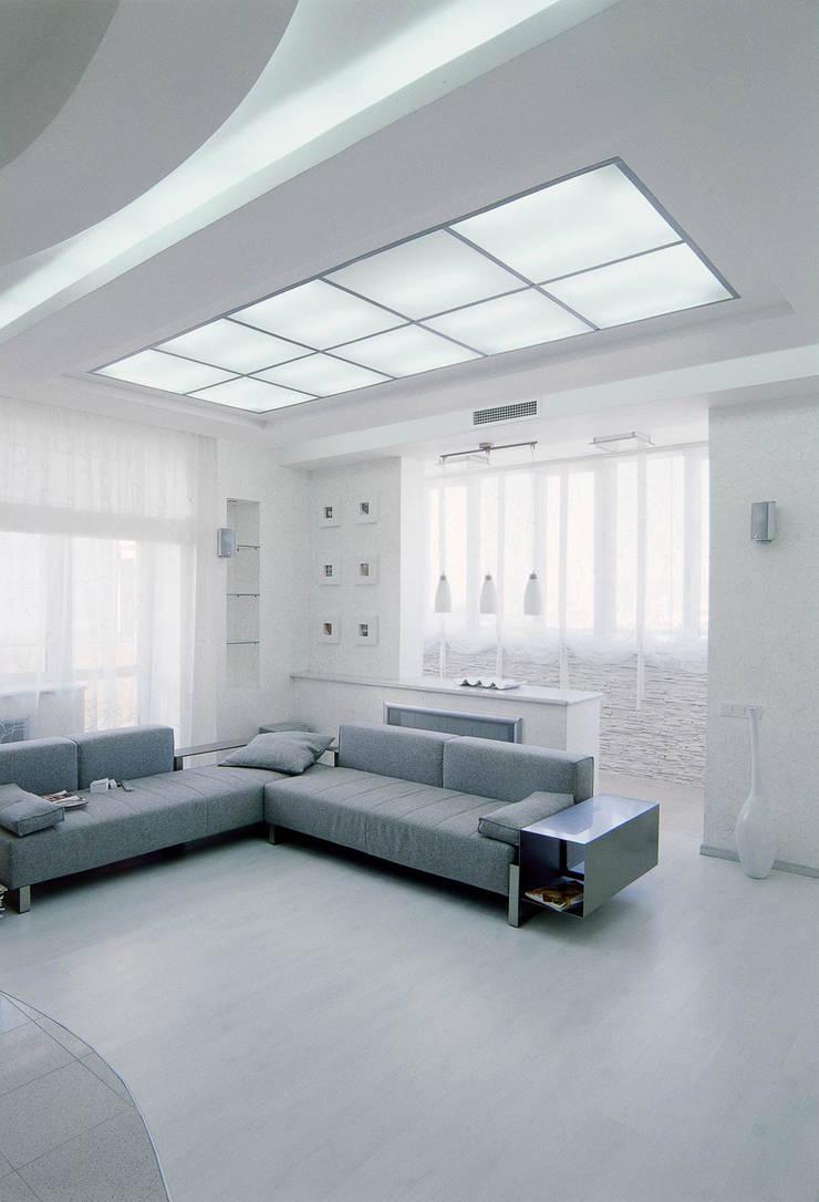 Идеально белый в ЖК Шмитовский: Гостиная в . Автор – Дизайн бюро Оксаны Моссур