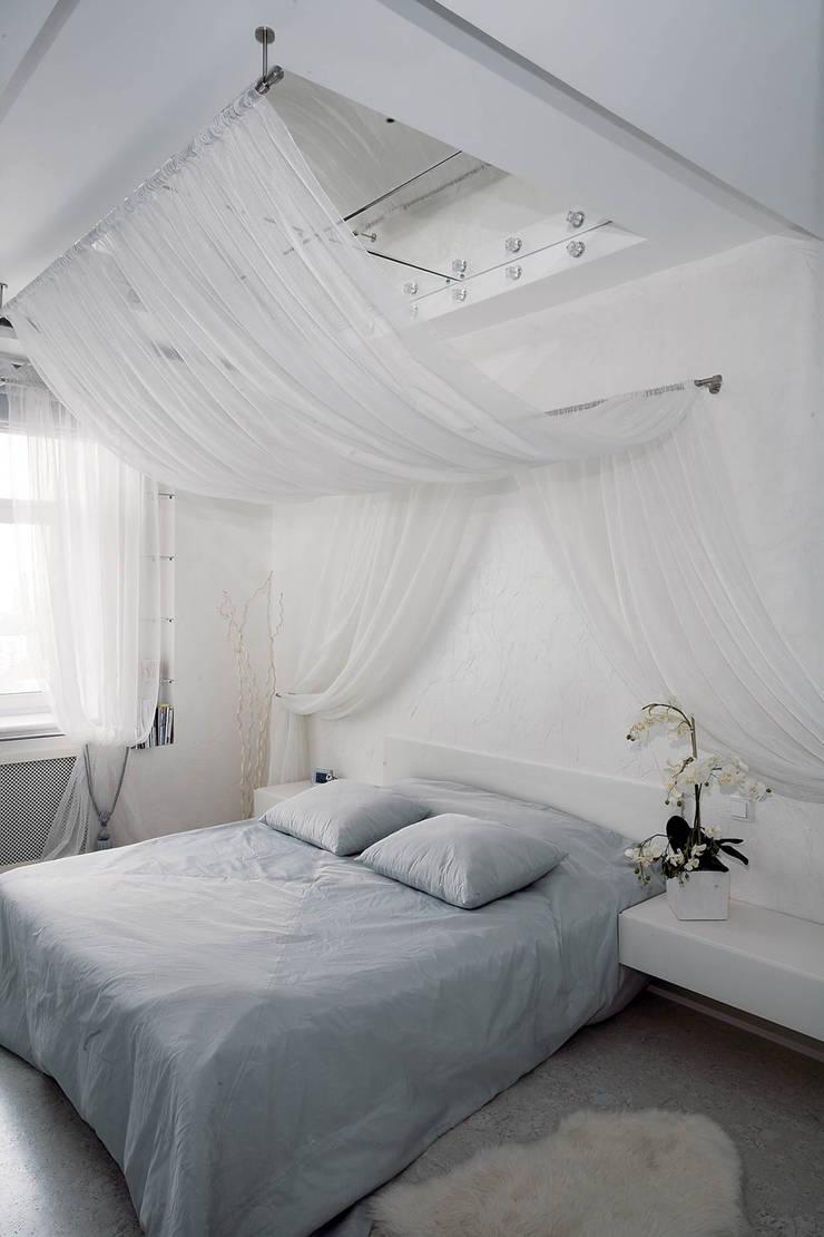 Идеально белый в ЖК Шмитовский: Спальни в . Автор – Дизайн бюро Оксаны Моссур