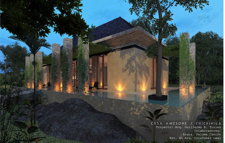 Área Social: Casas de estilo  por Guillermo Reyes Torres Arquitectura