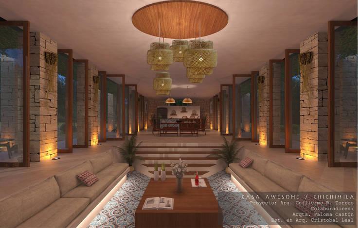 Interiores del área social: Salas de estilo  por Guillermo Reyes Torres Arquitectura