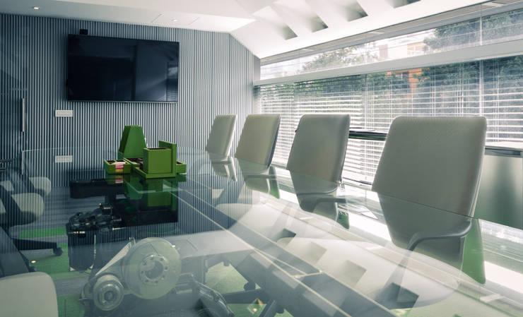 CORPORATIVO RENGEN: Estudios y oficinas de estilo  por HDA: ARQUITECTURA BIOCLIMATICA