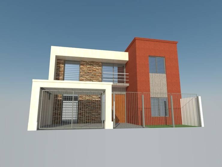 Exteriores - 3D: Casas de estilo  por Lisandro Fiori ARQUITECTO