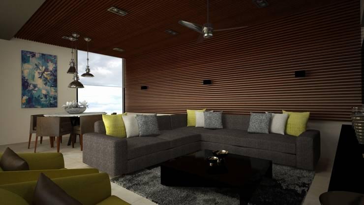 CASA – TEMOZÓN: Salas multimedia de estilo  por Vau Studio , Moderno