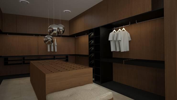 CASA – TEMOZÓN: Vestidores y closets de estilo  por Vau Studio , Moderno