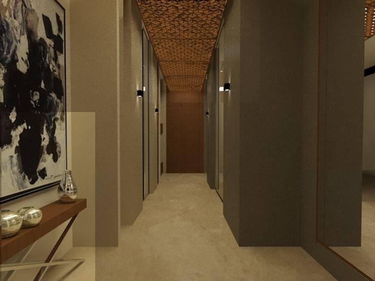 CASA – TEMOZÓN: Pasillos y recibidores de estilo  por Vau Studio , Moderno