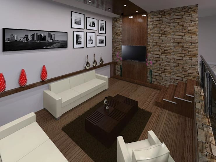Casa FM: Salas de estilo  por HC Arquitecto
