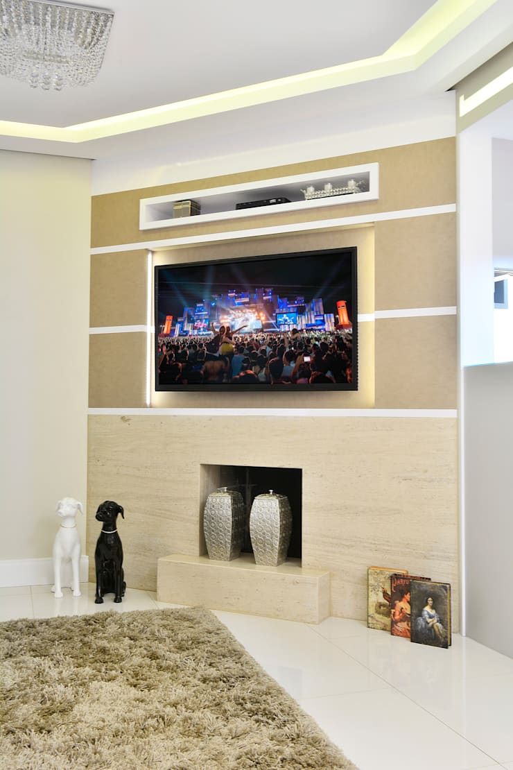 Sala de estar  por Graça Brenner Arquitetura e Interiores,