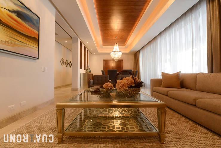 CASA LC: Salas de estilo  por UNOCUATRO, Moderno