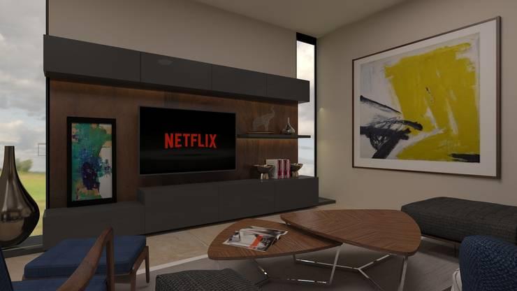 Family Room: Salas multimedia de estilo  por Vau Studio