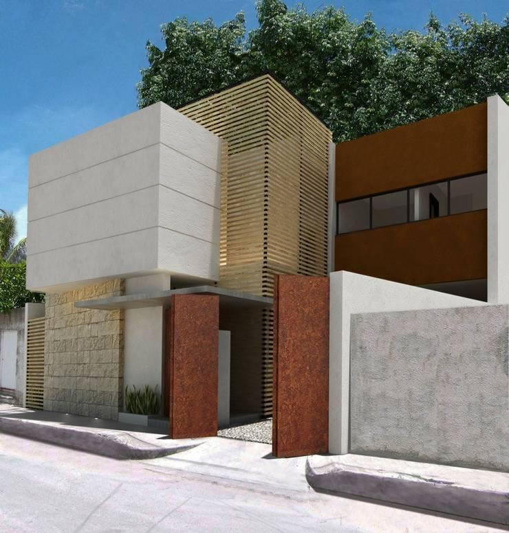 RENDER FACHADA PAL: Casas de estilo  por FRACTAL CORP Arquitectura, Moderno