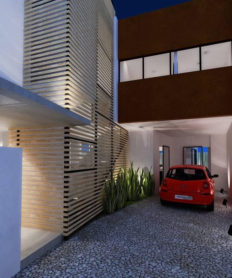 RENDER INGRESO LATERAL: Casas de estilo  por FRACTAL CORP Arquitectura, Moderno