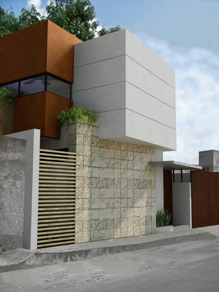 RENDER FACHADA LATERAL: Casas de estilo  por FRACTAL CORP Arquitectura, Moderno