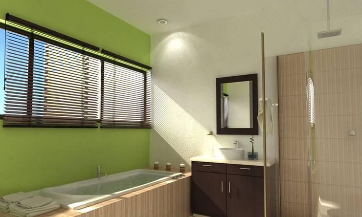 RENDER BAÑO PAL: Baños de estilo  por FRACTAL CORP Arquitectura, Moderno