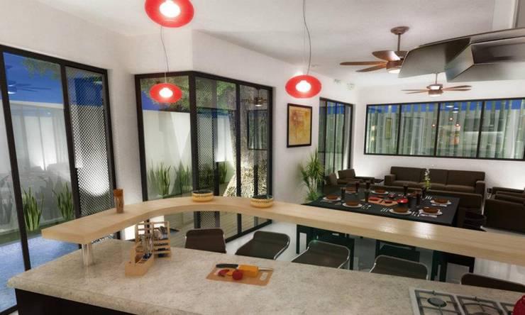 RENDER COMEDOR: Comedores de estilo  por FRACTAL CORP Arquitectura, Moderno