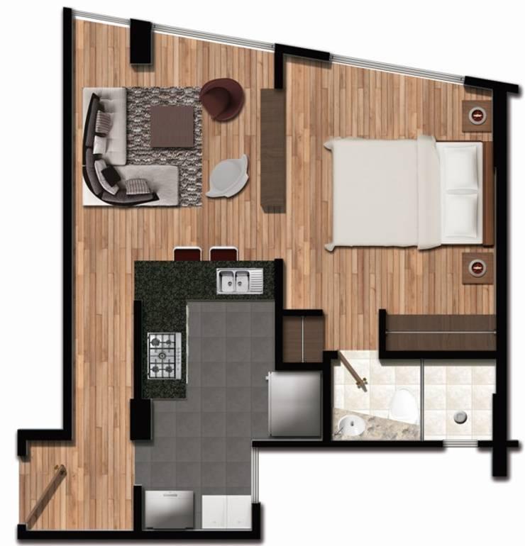 Render de un apartamento:  de estilo  por FARIAS SAS ARQUITECTOS