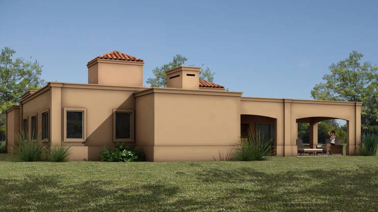 VISTA POSTERIOR: Casas unifamiliares de estilo  por JAMStudio,