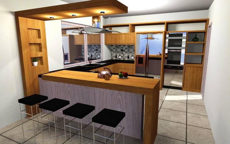 MAQUETAS VIRTUALES / ANTEPROYECTOS: Cocinas de estilo moderno por EL DIVÁN Arquitectura & Diseño de Interiores