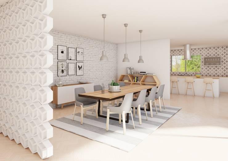 Residencia SLP: Comedores de estilo  por Dania MStudio, Escandinavo Madera Acabado en madera