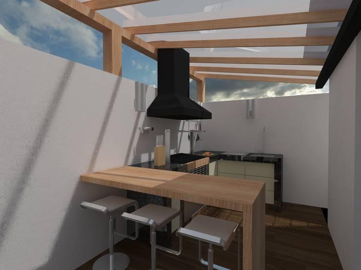 AREA DE ASADOR: Terrazas de estilo  por BTA DISEÑO Y CONSTRUCCION