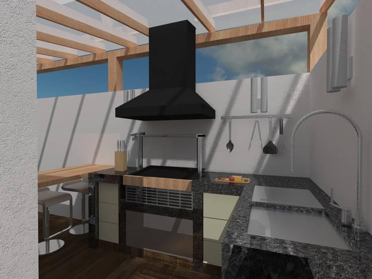 ÁREA DE ASADOR: Terrazas de estilo  por BTA DISEÑO Y CONSTRUCCION, Moderno Granito