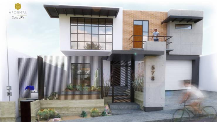 Perspectiva exterior: Casas unifamiliares de estilo  por Aformal, Moderno Ladrillos