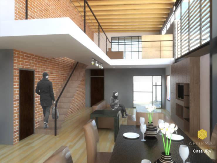 Perspectiva interior: Salas de estilo  por Aformal, Moderno Ladrillos