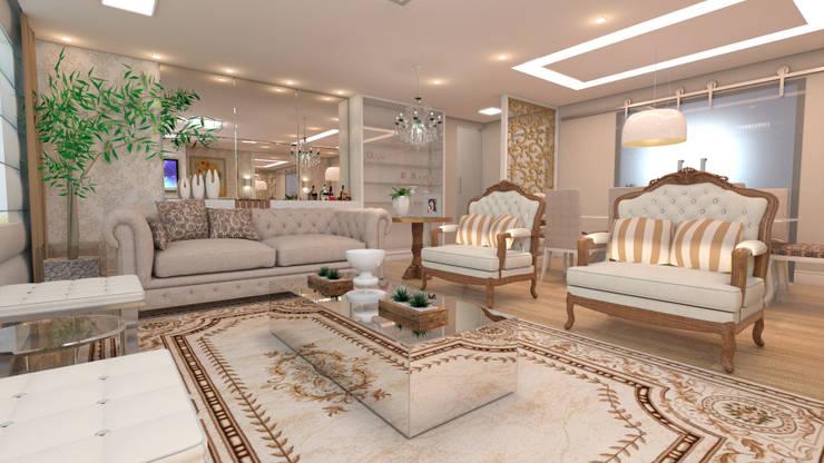 غرفة المعيشة تنفيذ Giovana Lumertz Design de Interiores