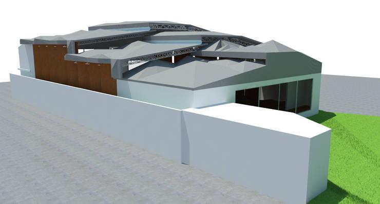 SALA DE USOS MÚLTIPLES (AUDITORIO) : Salas multimedia de estilo  por GRUPO KAIZEMCAMP SA DE CV, Moderno