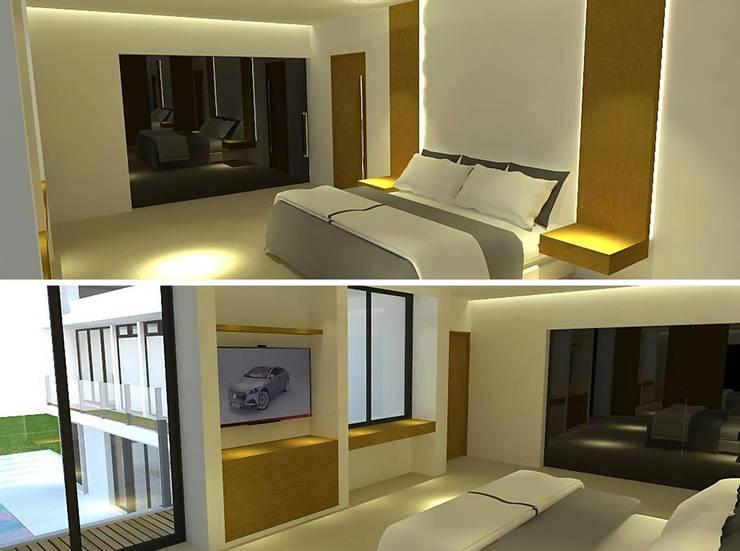 Vistas de dormitorio principal en suite.: Dormitorios de estilo  por ARQUIGRAF YB,