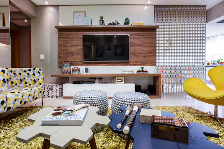 Salas de estar  por Amanda Pinheiro Design de interiores