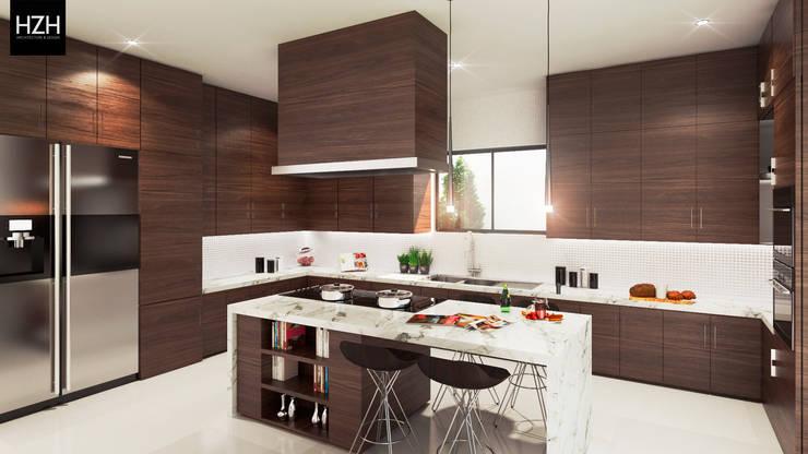 Diseño de cocina.: Cocinas de estilo  por HZH Arquitectura & Diseño, Moderno
