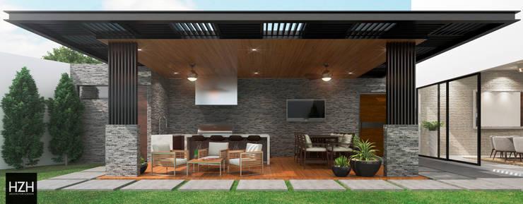 Diseño de palapa/área social. : Terrazas de estilo  por HZH Arquitectura & Diseño, Moderno