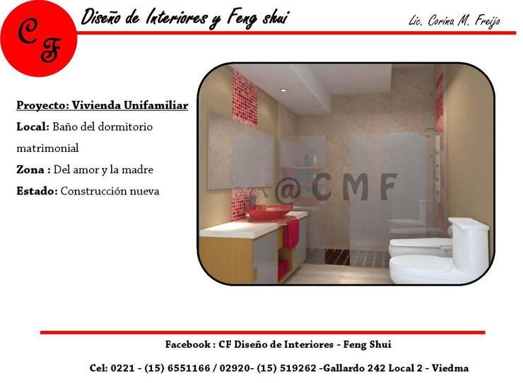 Baño Dormitorio en Suite: Baños de estilo  por CF Diseño de interiores y Feng Shui,