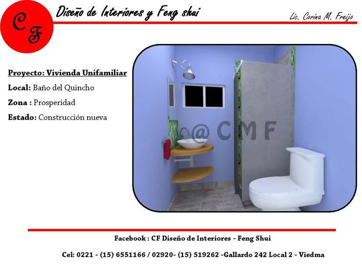Baño de quincho: Baños de estilo  por CF Diseño de interiores y Feng Shui,