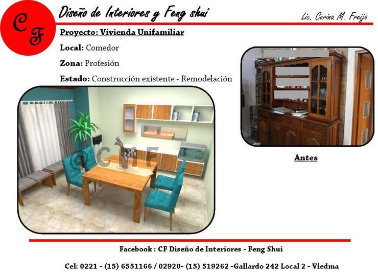 Vivienda Unifamiliar: Comedores de estilo  por CF Diseño de interiores y Feng Shui,