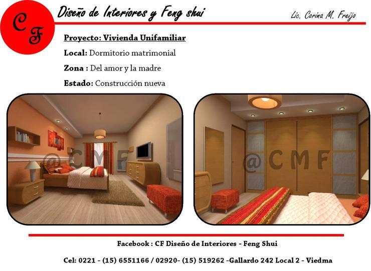 Vivienda Unifamiliar: Dormitorios de estilo  por CF Diseño de interiores y Feng Shui,
