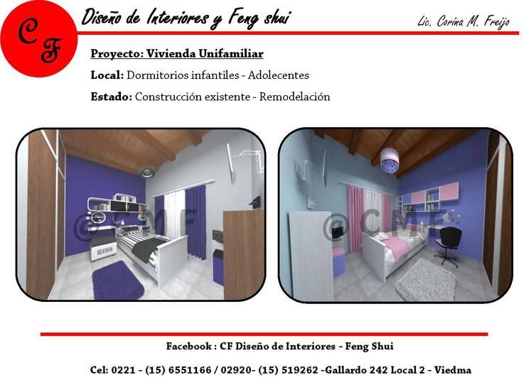 Vivienda Unifamiliar: Dormitorios infantiles de estilo  por CF Diseño de interiores y Feng Shui,