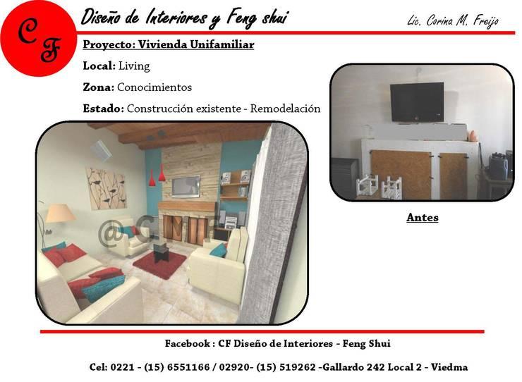 Vivienda Unifamiliar: Livings de estilo  por CF Diseño de interiores y Feng Shui,