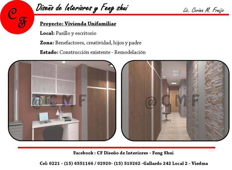 Vivienda Unifamiliar: Pasillos y recibidores de estilo  por CF Diseño de interiores y Feng Shui,