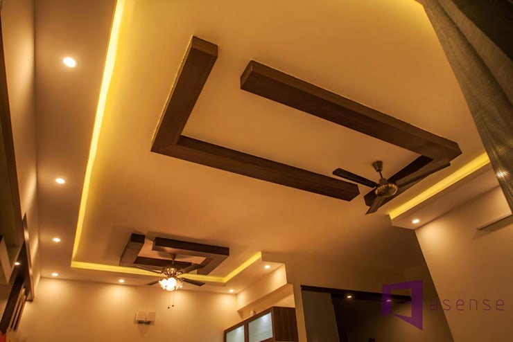 False Ceiling & Light Fan:  Walls & flooring by Asense
