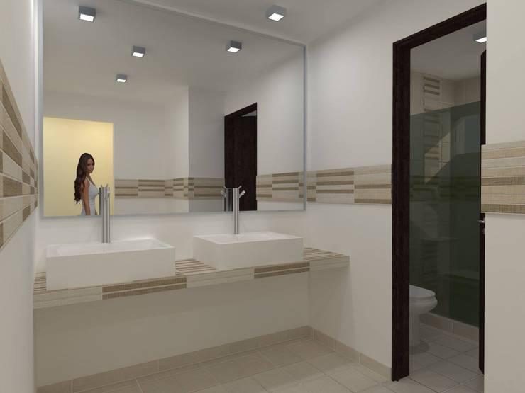Casa EDOMEX: Baños de estilo  por REA + m3 Taller de Arquitectura, Moderno