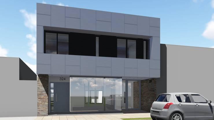 Fachada de oficinas en planta baja y vivienda en planta alta: Casas de estilo  por ARBOL Arquitectos