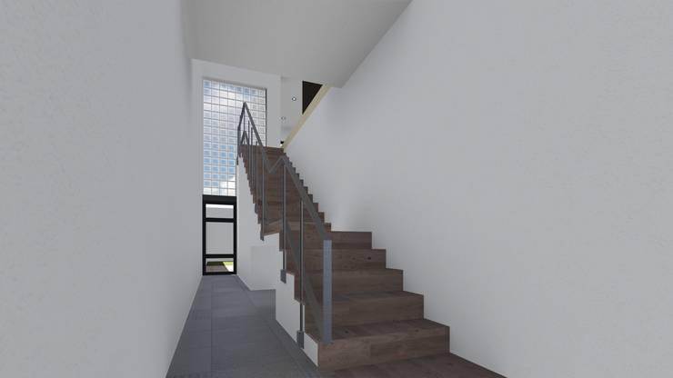 Ingreso de vivienda en Planta alta: Pasillos y recibidores de estilo  por ARBOL Arquitectos
