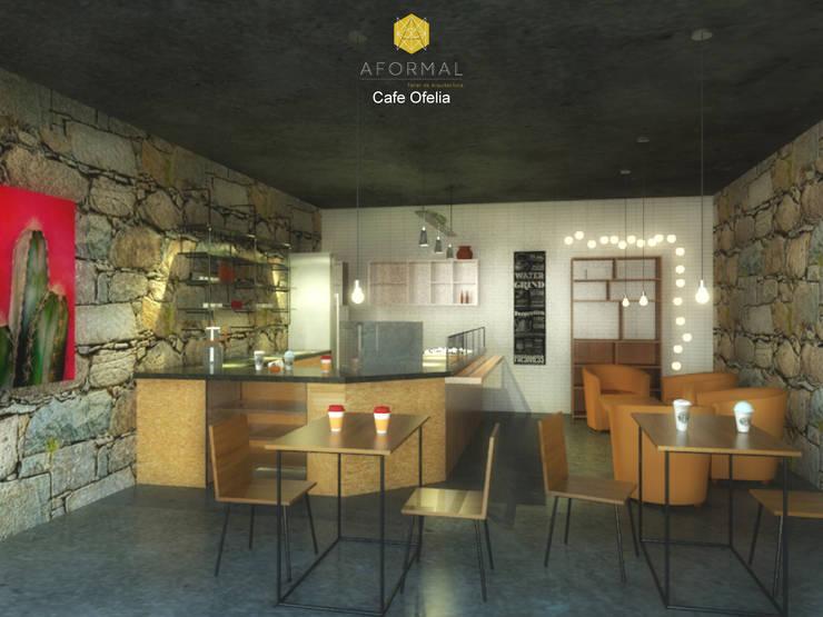 Perspectiva interior del café: Cocinas de estilo  por Aformal, Moderno Piedra