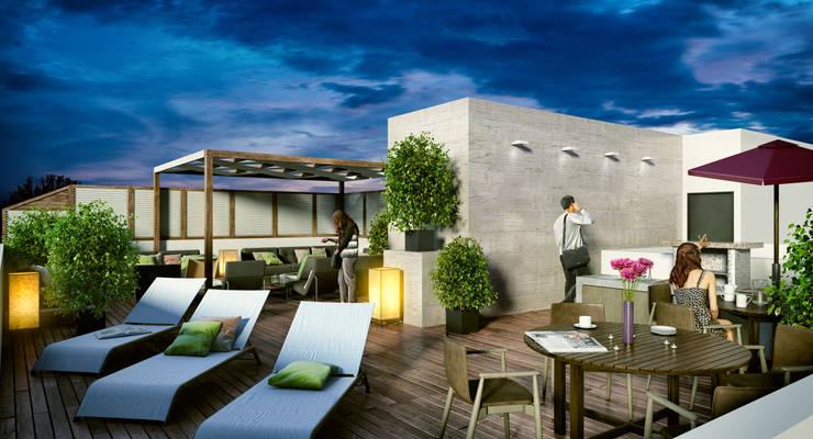 Venturi Residencial: Terrazas de estilo  por IARKITECTURA, Moderno Madera Acabado en madera