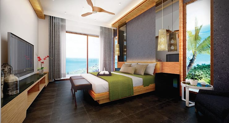 Bed Room:  Hotels by Much Creative Communication Limited, Tropical Wood Wood effect