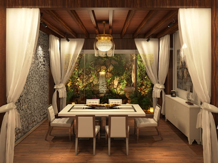 Dining that extends into a lush Garden:  Dining room by AAMRAPALI BHOGLE
